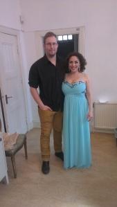 Efter konserten, Joel redan ombytt och jag i min nya klänning :)