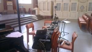 Konsert i Domkyrkan tillsammans med Salomon Helperin och Saied Belhaij. Mycket utrustning att hålla koll på :)