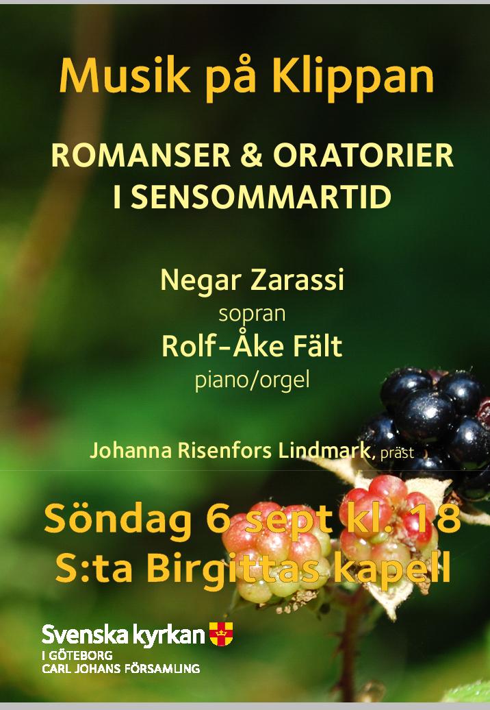 Konsert i St:a Birgittas kapell söndag 6 sep kl.18.00